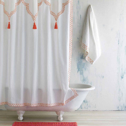 Iswar Shower Curtain, White/Coral