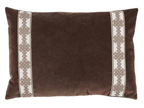 Velvet Amalfi Tape Lumbar Pillow, Cafe