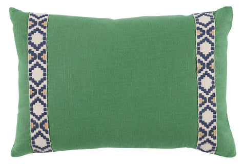Linen Camden Tape Lumbar Pillow, Kelly Green