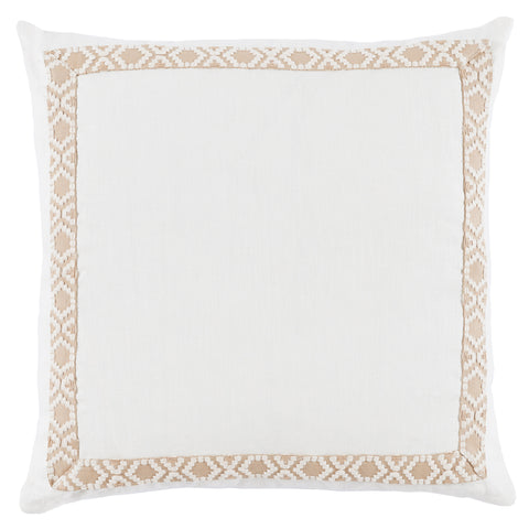 Linen Camden Tape Pillow, Eggshell