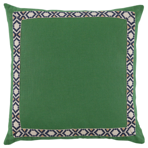 Linen Camden Tape Pillow, Kelly Green
