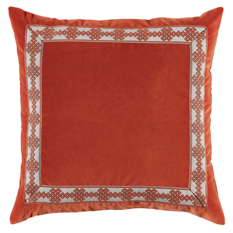 Velvet Amalfi Tape Pillow, Tangelo