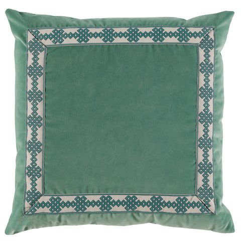 Velvet Amalfi Tape Pillow, Viridian