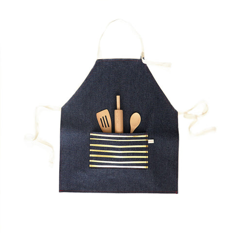 Kids Apron Set, Gold Foil Stripe on Denim