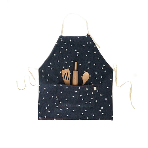 Kids Apron Set, Denim Silver Star