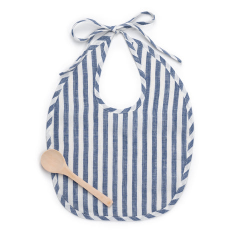 Linen Bib Set, Indigo White Stripe