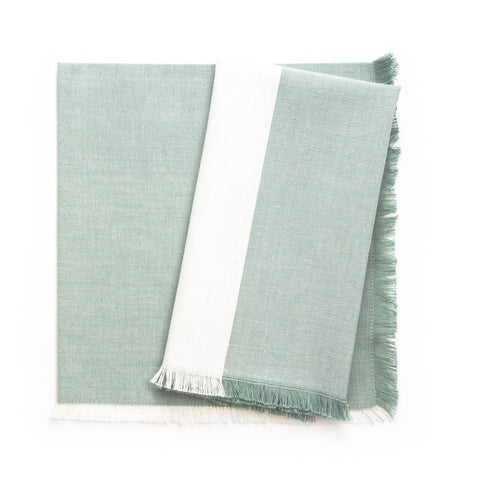 Fringe Colourblock Napkin, Mist/Cream