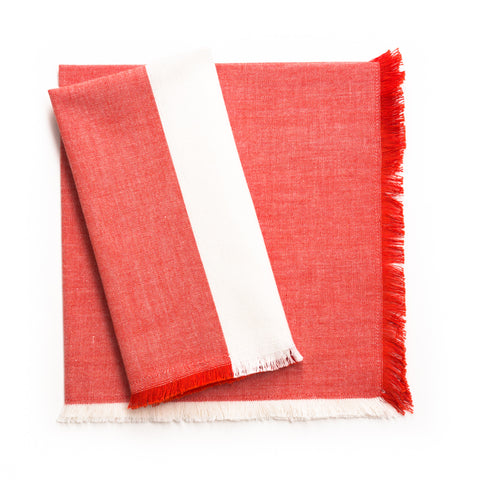 Fringe Colourblock Napkin, Tomato/Cream