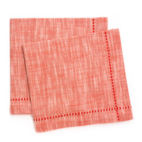 Slub Solid Cross Stitch Napkin, Tomato