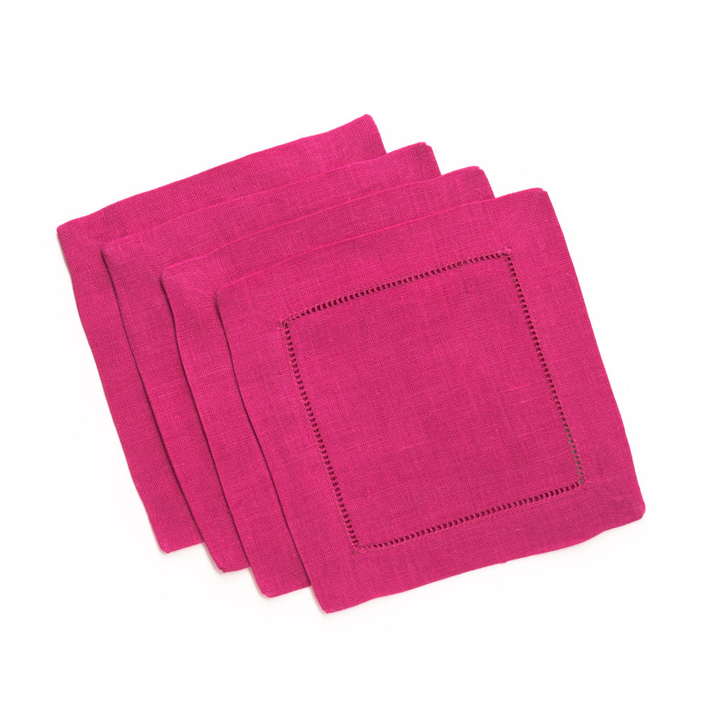 Festival Square Cocktail Napkin, Raspberry
