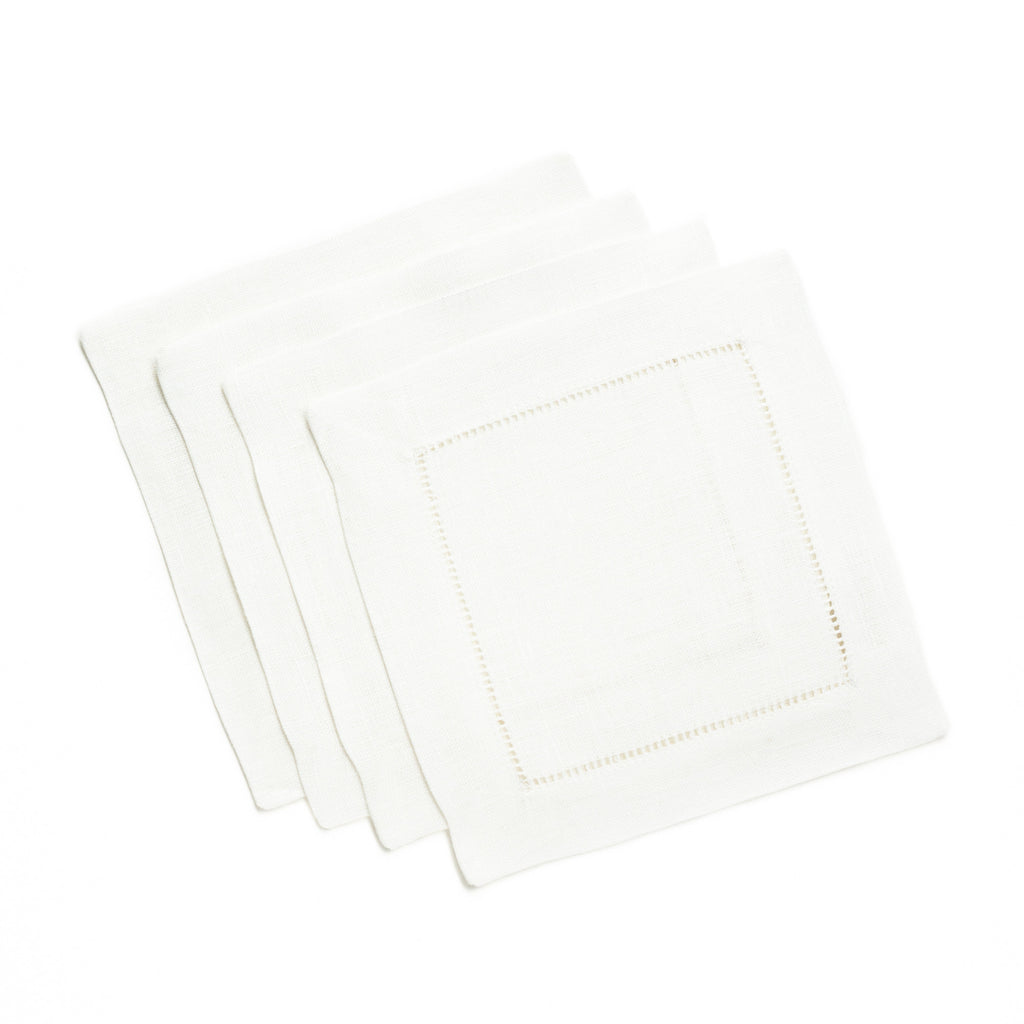 Festival Square Cocktail Napkin, White