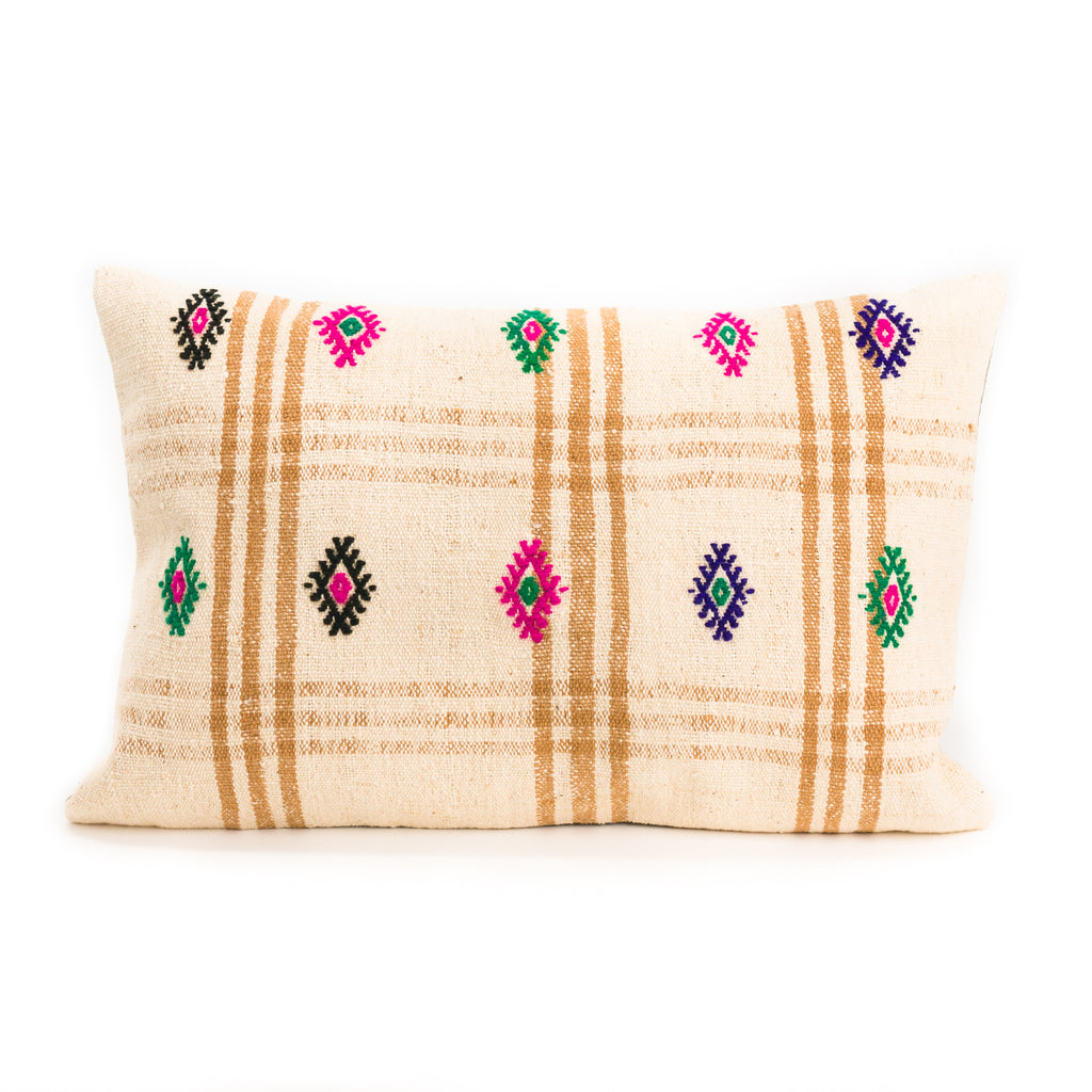 Tan Plaid Kilim Lumbar Pillow, I