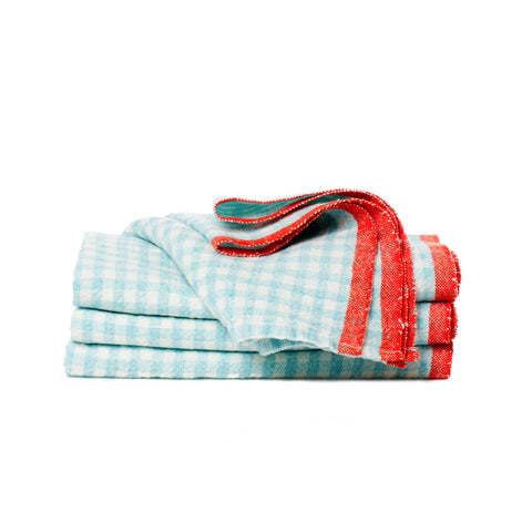 Two-Tone Gingham Tea Towel, Aqua/Orange