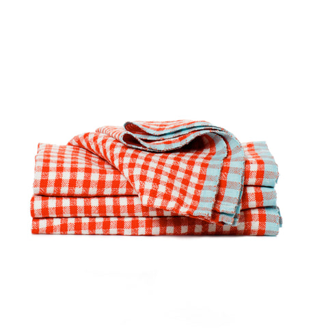 Two-Tone Gingham Tea Towel, Orange/Aqua