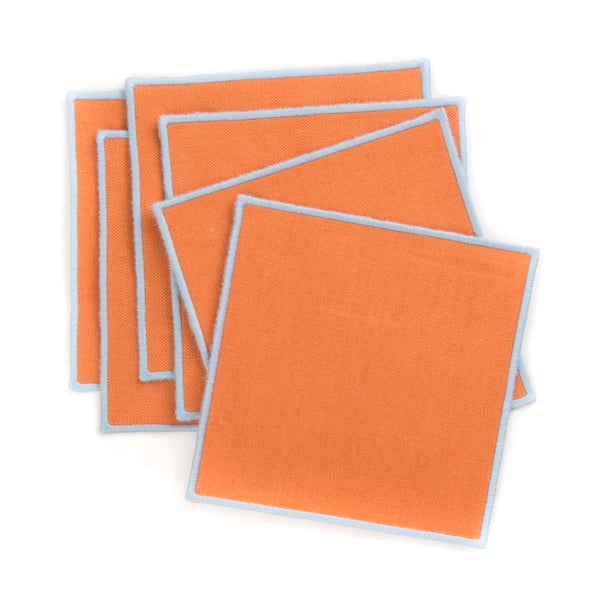 Linen Cocktail Napkin with Embroidered Edge, Amber