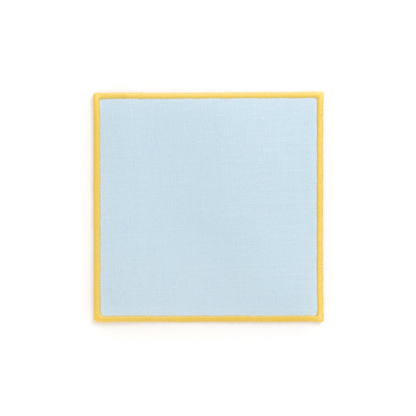 Linen Cocktail Napkin with Embroidered Edge, Baby Blue
