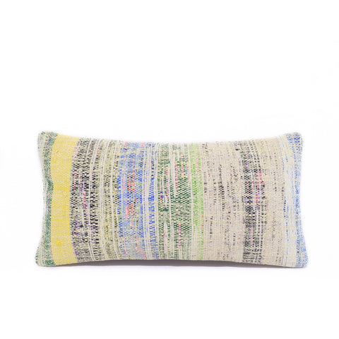 Green Multi Basket Weave Kilim Lumbar Pillow