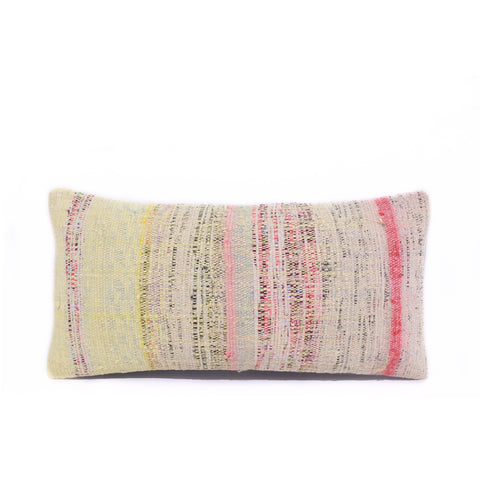 Pink Multi Basket Weave Kilim Lumbar Pillow