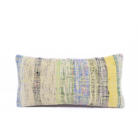 Yellow Multi Basket Weave Kilim Lumbar Pillow