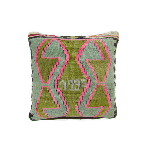 Olive, Sage and Pink Aztec Kilim Pillow