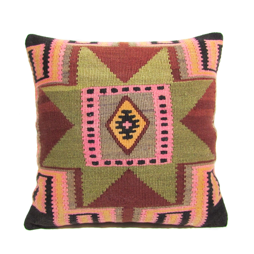 Pink and Green Aztec Kilim Pillow