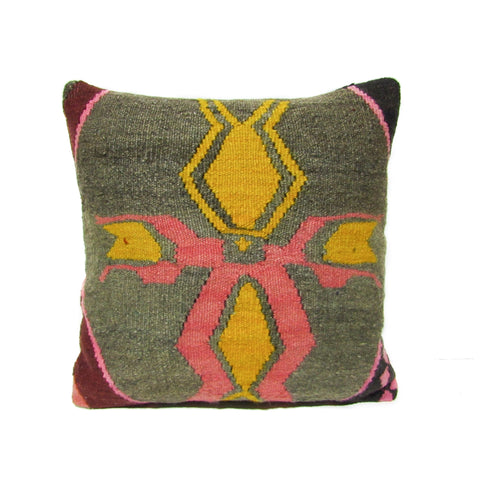 Green Marigold Flower Kilim Pillow, I