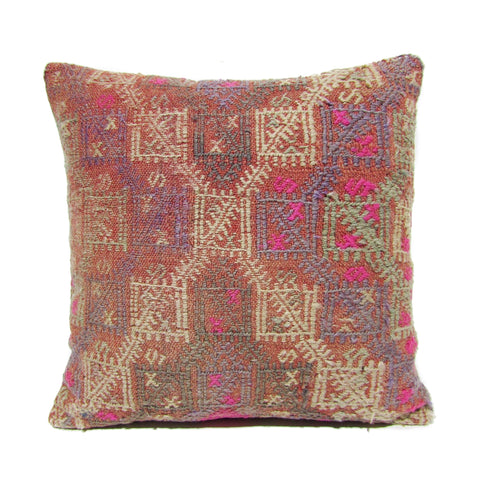 Lavender and Pink Cross Stitch Kilim Pillow