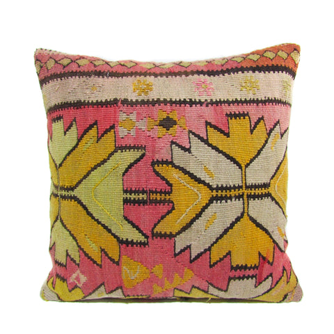 Pink and Yellow Aztec Kilim Pillow