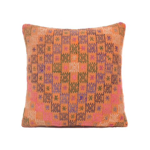 Salmon and Lavender Cross Stitch Kilim Pillow