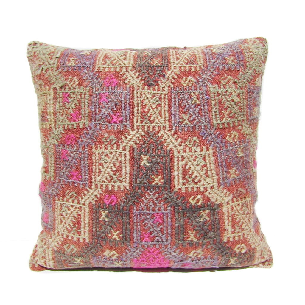 Sage, Lavender and Pink Cross Stitch Kilim Pillow