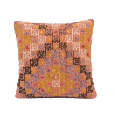 Salmon and Mustard Cross Stitch Kilim Pillow, II