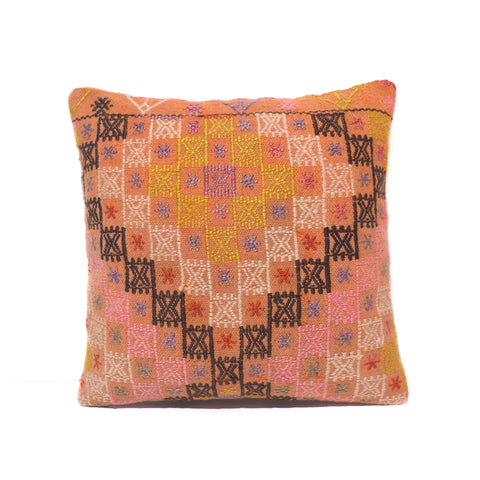 Salmon and Mustard Cross Stitch Kilim Pillow, I