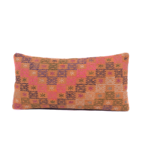 Pink Cross Stitch Kilim Lumbar Pillow