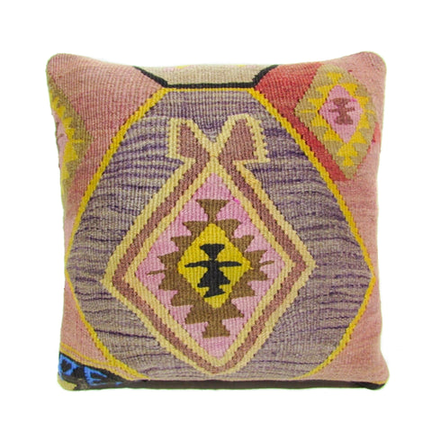 Purple and Pink Diamond Kilim Pillow