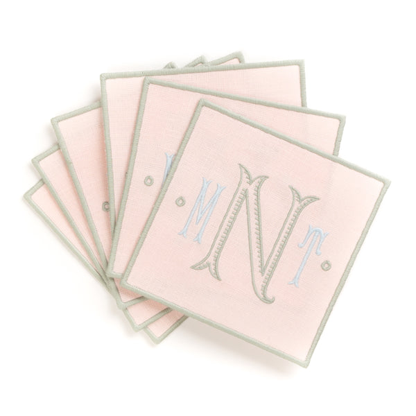 Linen Cocktail Napkin with Embroidered Edge, Soft Pink