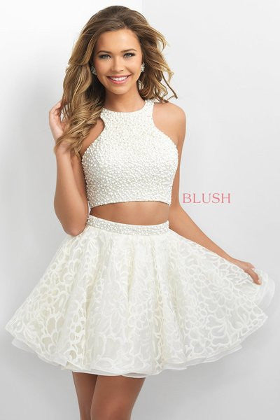 Beaded Short Two Piece Dress: Blush 11154