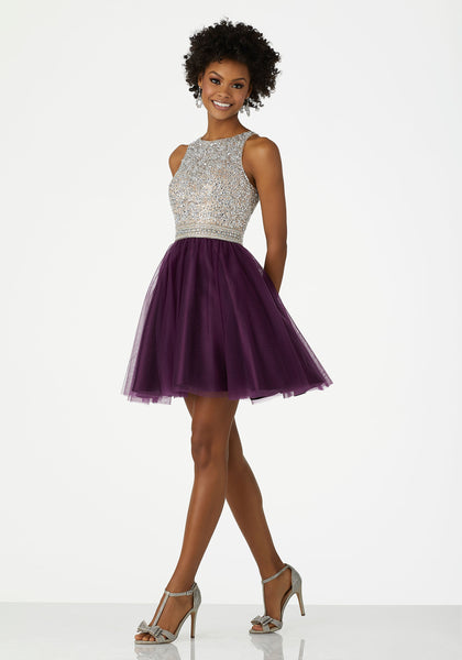 Sequin Beaded Dress with Zipper Closure 33007