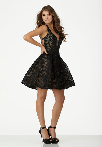 Lace Dress with Plunging Neckline 33008