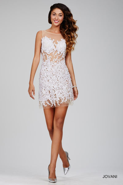 SHORT WHITE & NUDE GOWN