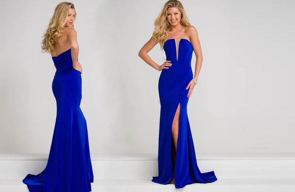 SEXY ROYAL BLUE STRAPLESS FITTED GOWN WITH SPLIT