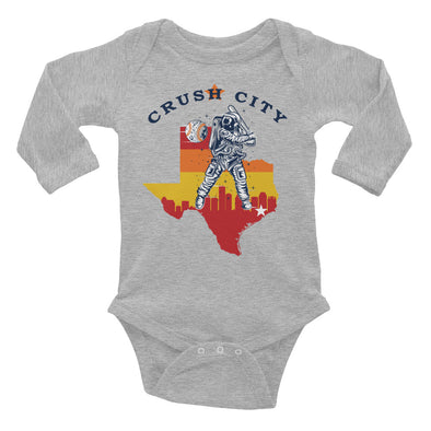Crush City Astros Long Sleeve Baby Onesie