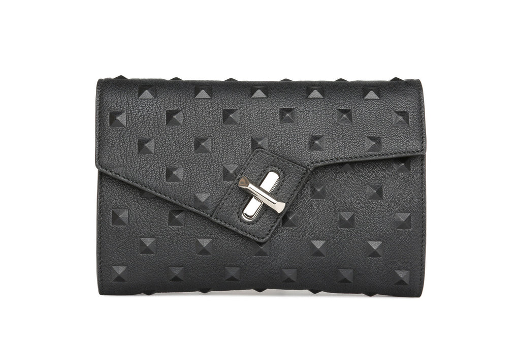 ela mini milck clutch - stud in black
