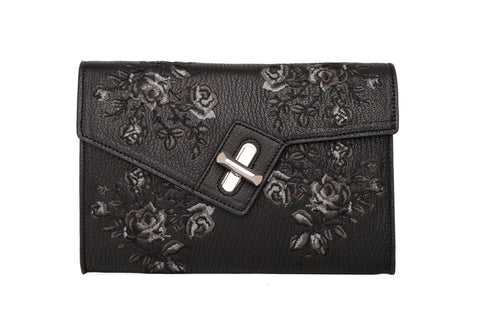 Mini MILCK Clutch - Bloom Embroidery - black