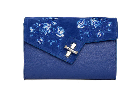 Mini MILCK Clutch - Bloom Embroidery - cobalt