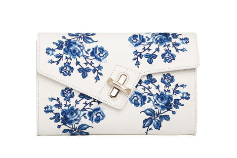 Mini MILCK Clutch - Bloom Embroidery - white
