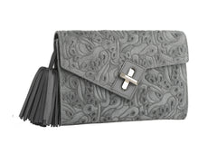 ela mini milck clutch - flower party in grey with silver hardware