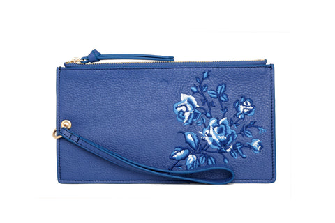 MINI WRISTLET POUCH - EMBROIDERY - cobalt