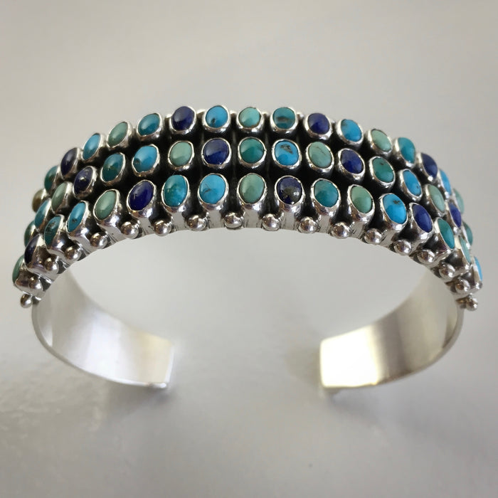 Three Rows Turquoise and Silver Cuff Bracelet, by Dee Nez