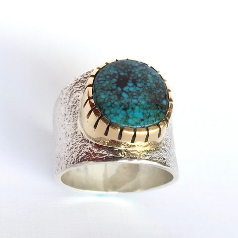 Silver Cast Nevada Blue Moon Turquoise Ring, by Sonwai