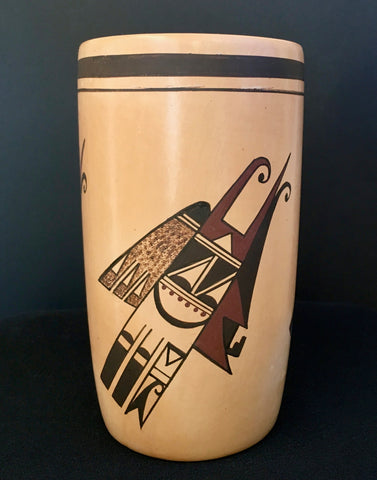 Hopi Polychrome Cylinder Pottery, by Fawn Navasie, natural clay pottery, Hopi, Arizona